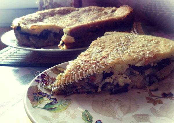Заливной пирог с капустой без яиц