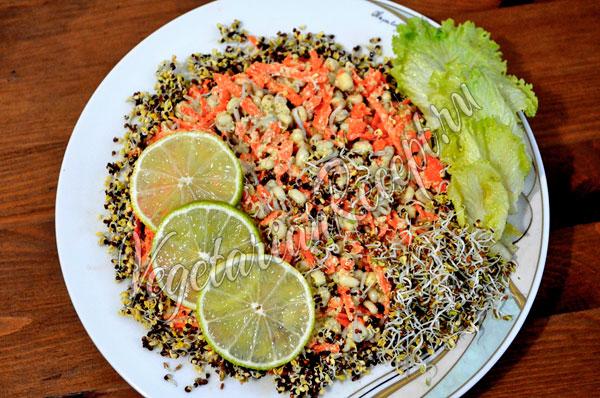 Салат из пророщенного маша и морковки