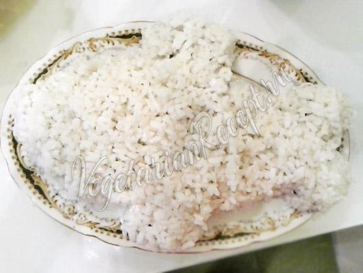 Последний слой салата из риса