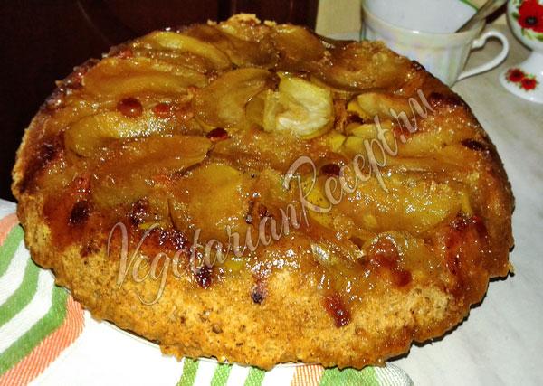 Тарт Татен с яблоками и изюмом
