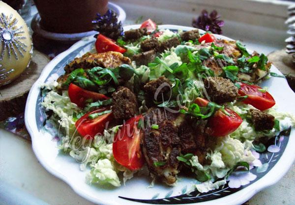 Вегетарианский рецепт салата Цезарь