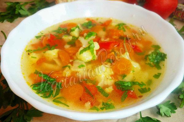 Рецепт постного супа с цветной капустой