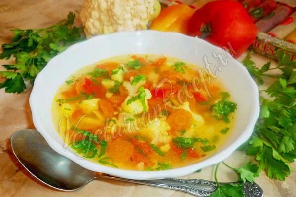 Постный суп с цветной капустой